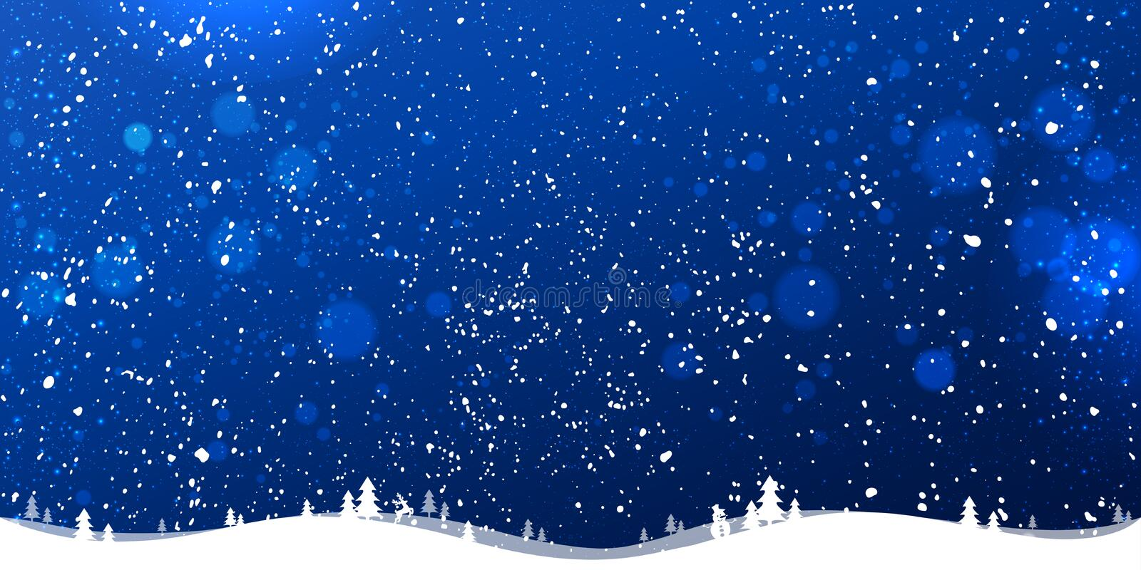 Blue winter Christmas background with landscape, snowflakes, light, stars. Xmas and New Year card. Vector Illustration stock illustration