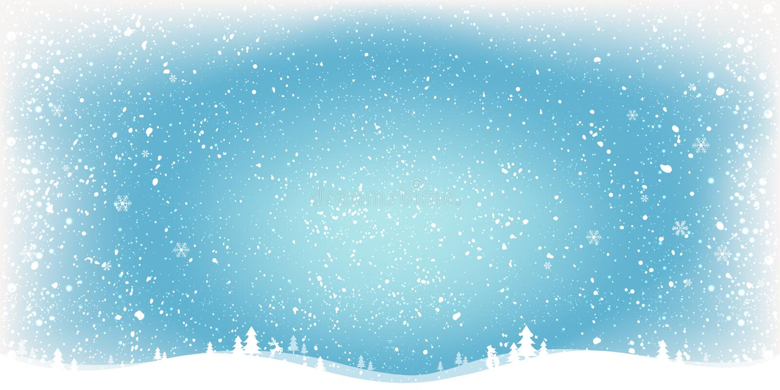 Blue Winter Christmas background with landscape, snowflakes, light, stars. Xmas and New Year card. royalty free illustration