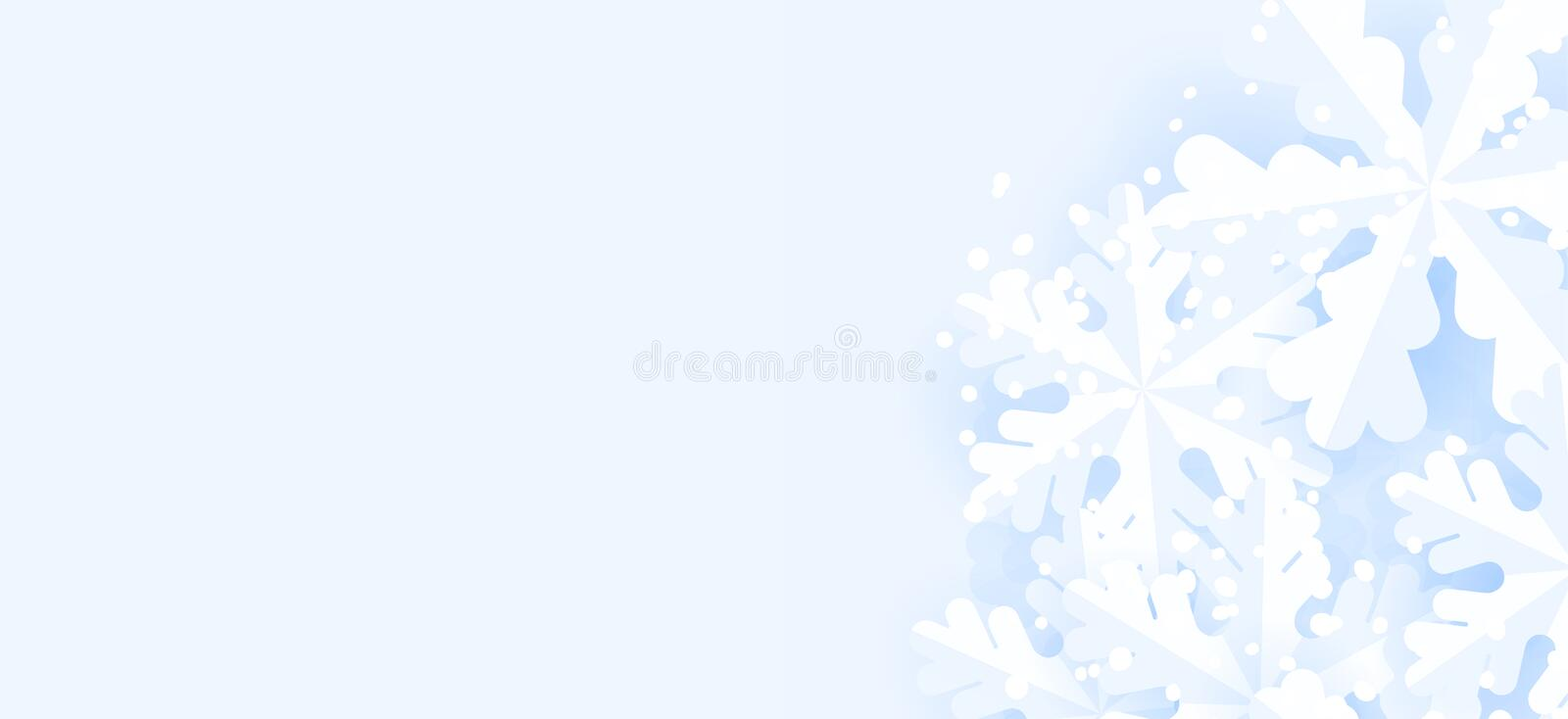 Blue winter horizontal background with snowflakes for web banner and mailing. stock illustration