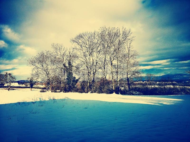 Blue mountain landscape in winter royalty free stock image