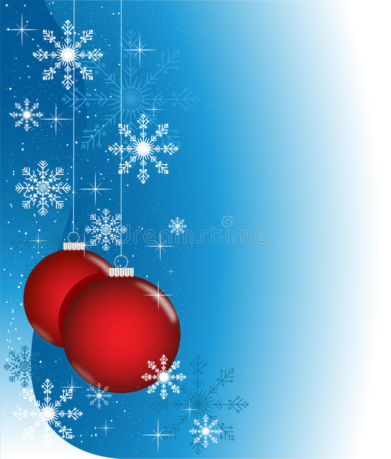 Blue winter with red balls stock photo