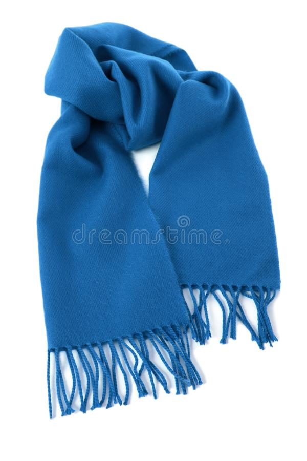 Blue winter scarf isolated white background royalty free stock images