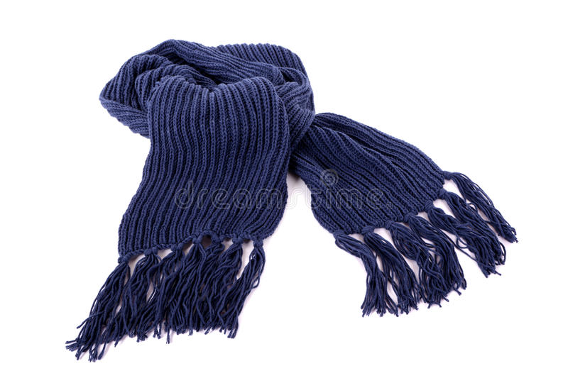 Blue winter scarf isolated on white background stock photography