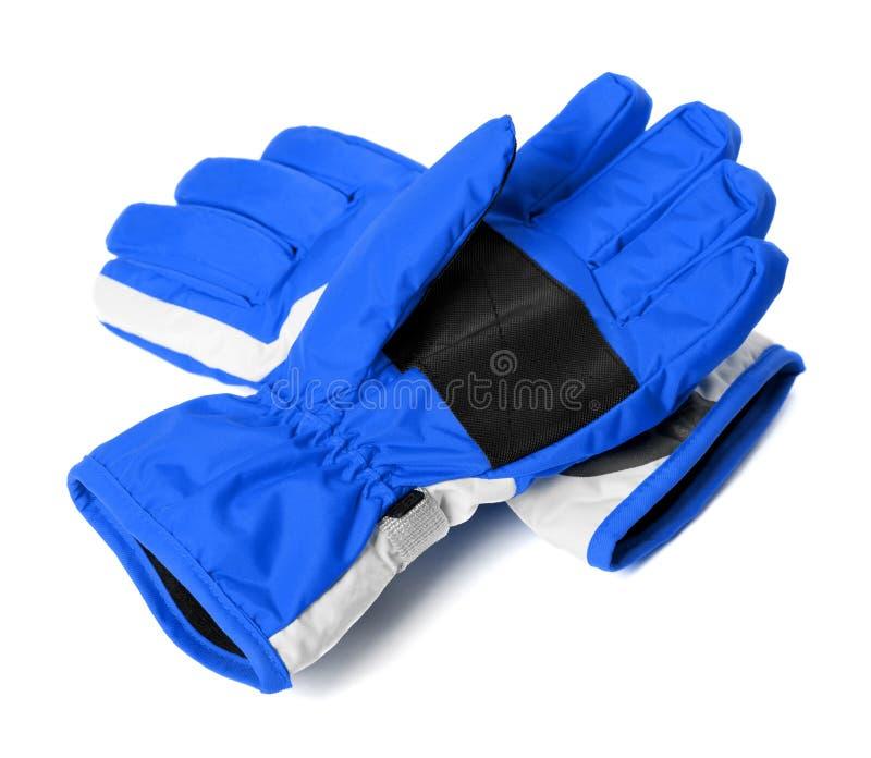 Blue winter ski gloves. Isolated on white background stock image