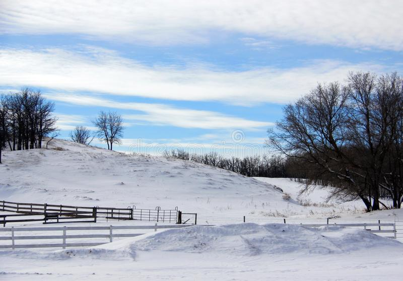 Peaceful snow covered hillside in Southern Manitoba. stock images