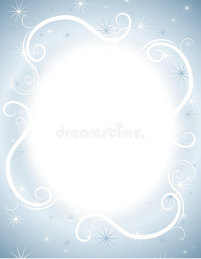 Blue Winter Sparkles Background. A background illustration featuring blue and white decorative elements - glowing, stars and swirls stock illustration