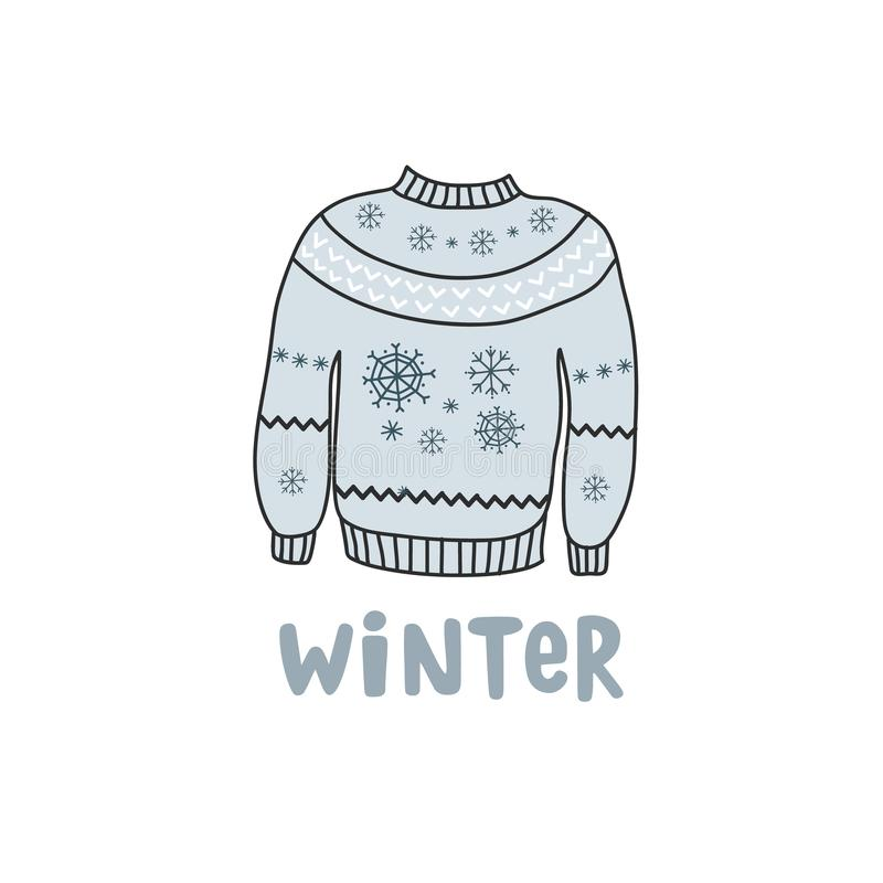 Blue winter warm sweater with snowflakes. Vector color freehand drawing in doodle style. Inscription winter royalty free illustration