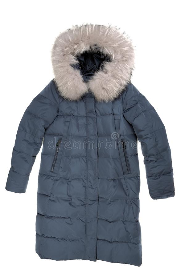 Blue winter women`s down jacket with a fur collar. Isolate on wh royalty free stock photos