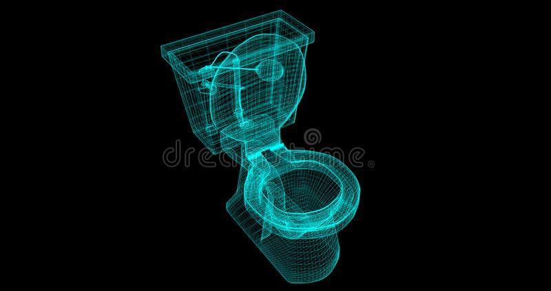 A Wire-Frame of a toilet, 3D rendered with my own design. stock illustration