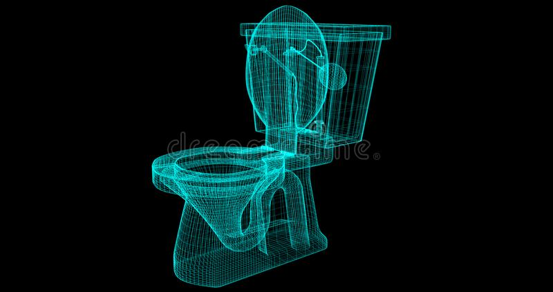 A Wire-Frame of a toilet, 3D rendered with my own design. vector illustration
