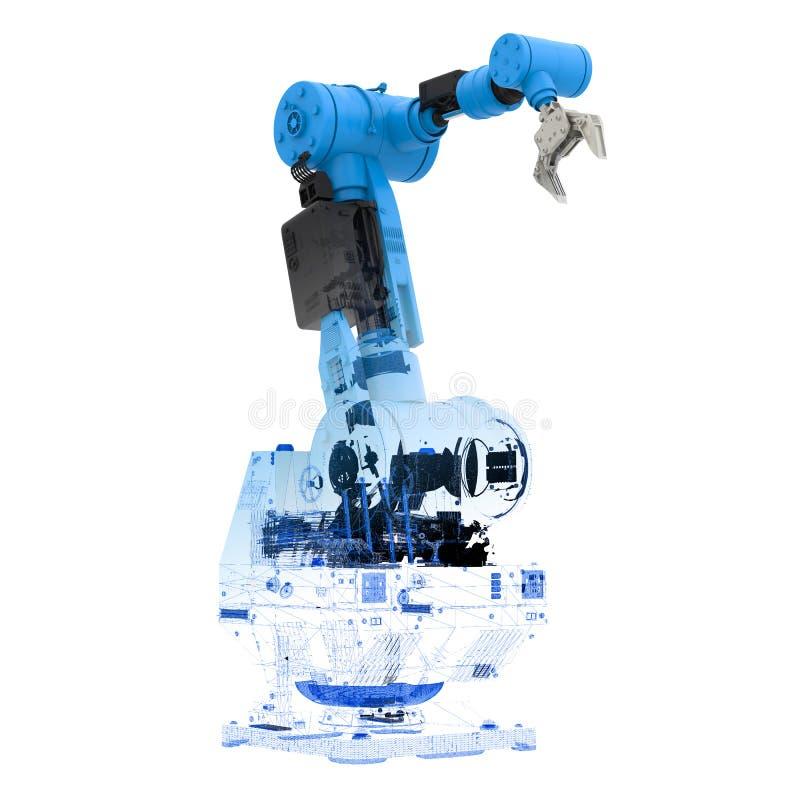 Blue wireframe robotic arm. 3d rendering blue wireframe robotic arm on white background stock photo
