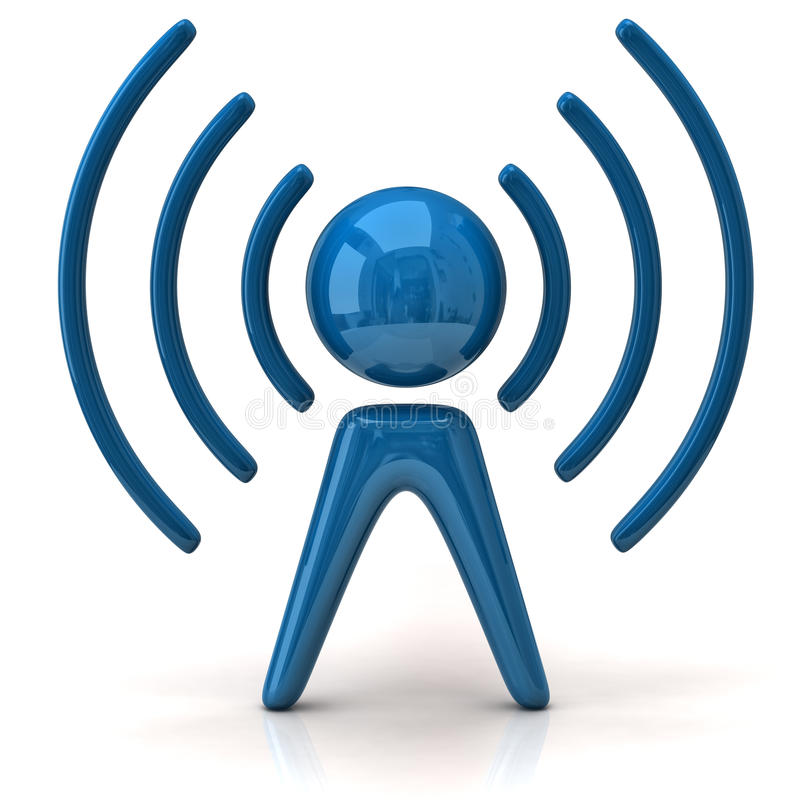 Blue wireless icon royalty free illustration