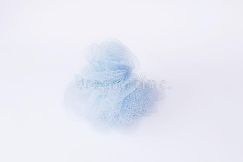 Blue Wisp Bast  on white Background Bathroom Accessories SPA Concept Body Care. Top View stock photography