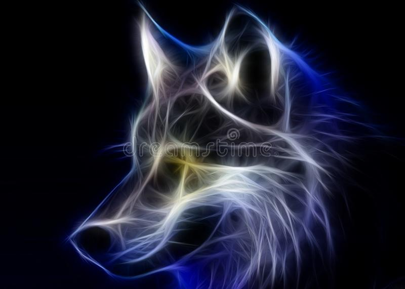 Blue wolf. Background with colors ideal for posters, backgrounds and more stock illustration