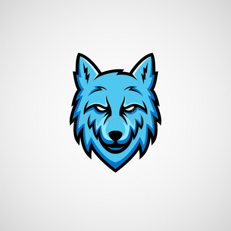 Blue wolf mascot logo vector. Isolated illustration angry vector illustration