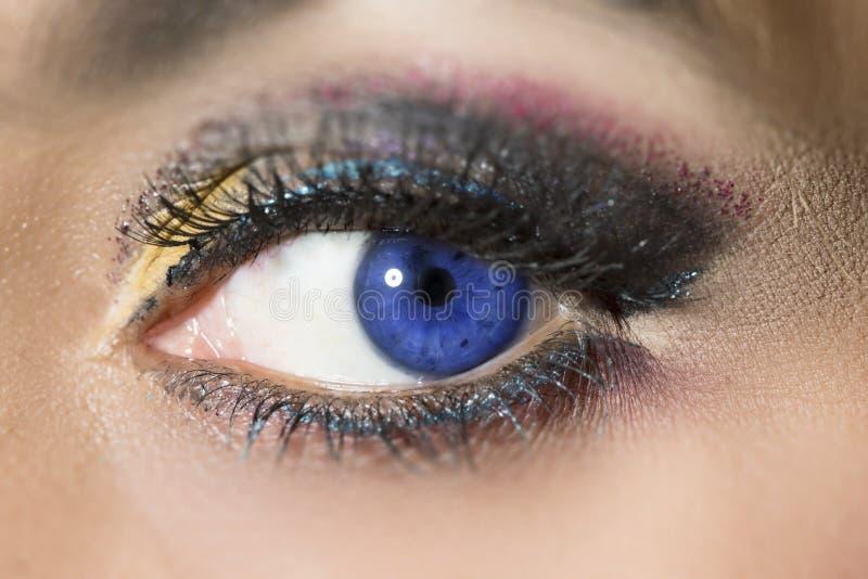Blue woman eye stock photos