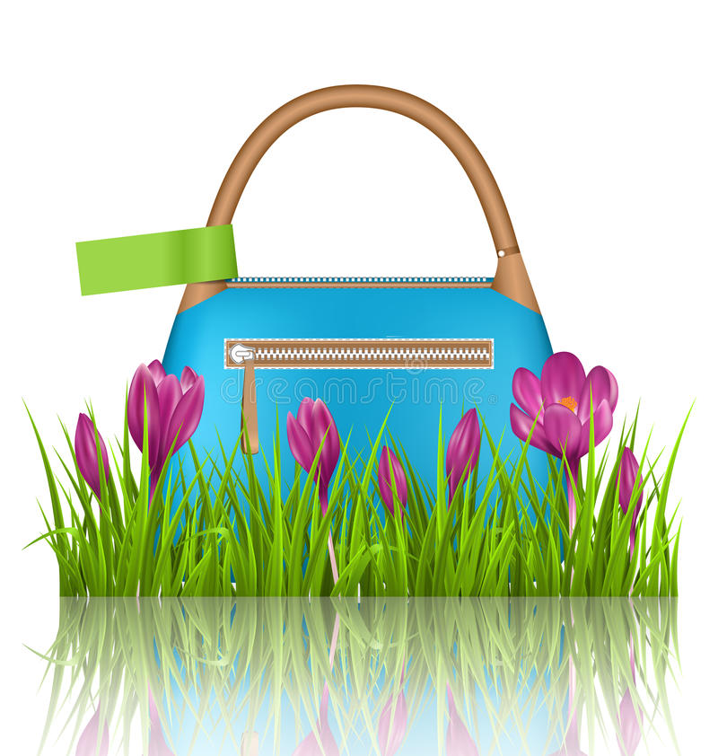 Blue woman spring bag with crocuses flowers and green label stock images