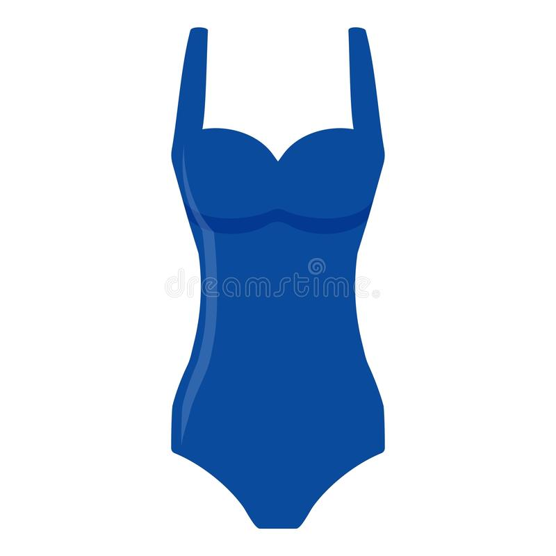 Blue women swimsuit isolated on white background. Bikini bathing suit for swimming. Fashion tankini. royalty free illustration