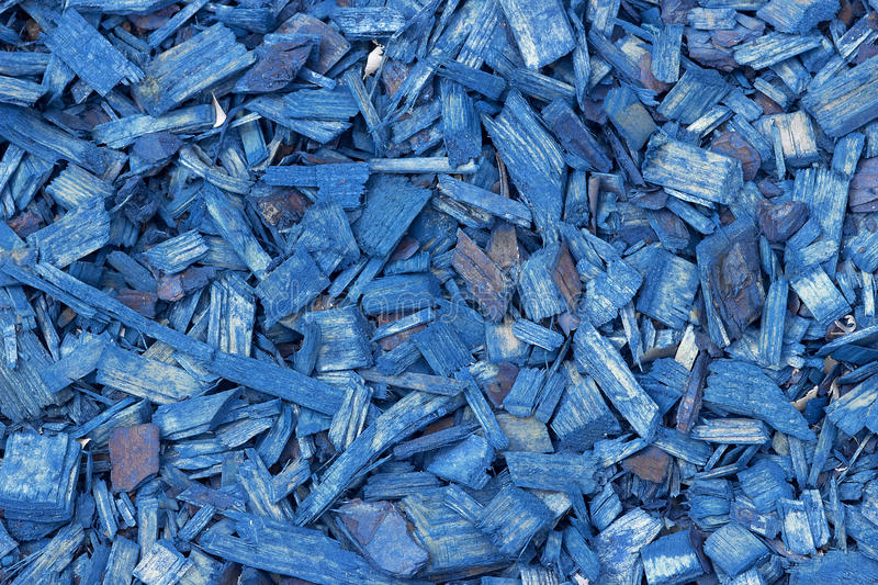 Blue wood chips texture, wooden decorative background. stock photo