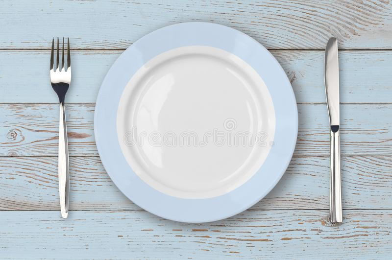 Download Blue Wood Table With Plate Setting Top View Stock Image - Image of view & Blue Wood Table With Plate Setting Top View Stock Image - Image of ...