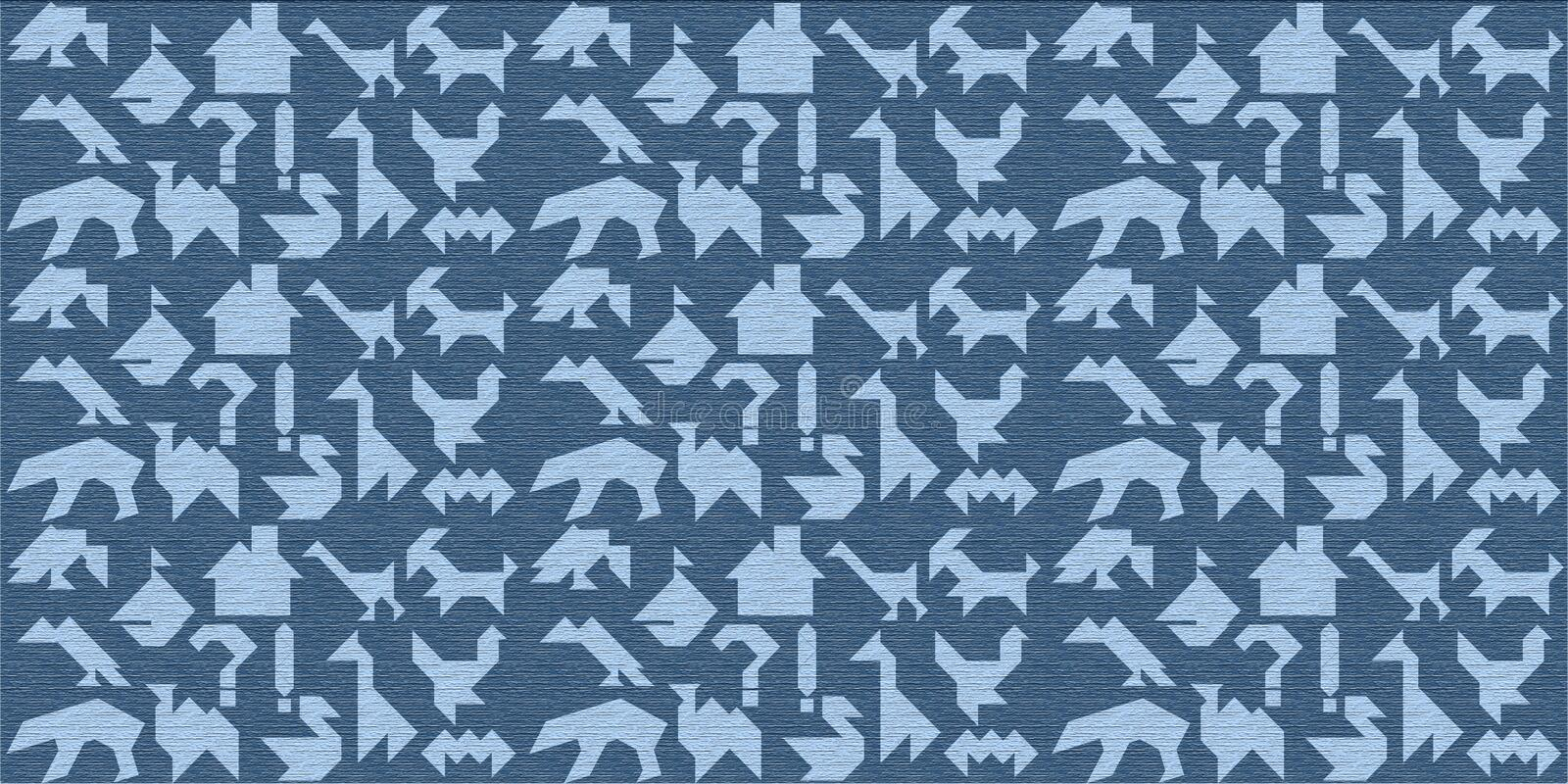 Blue wooden background with silhouettes for puzzle tangrams stock photos