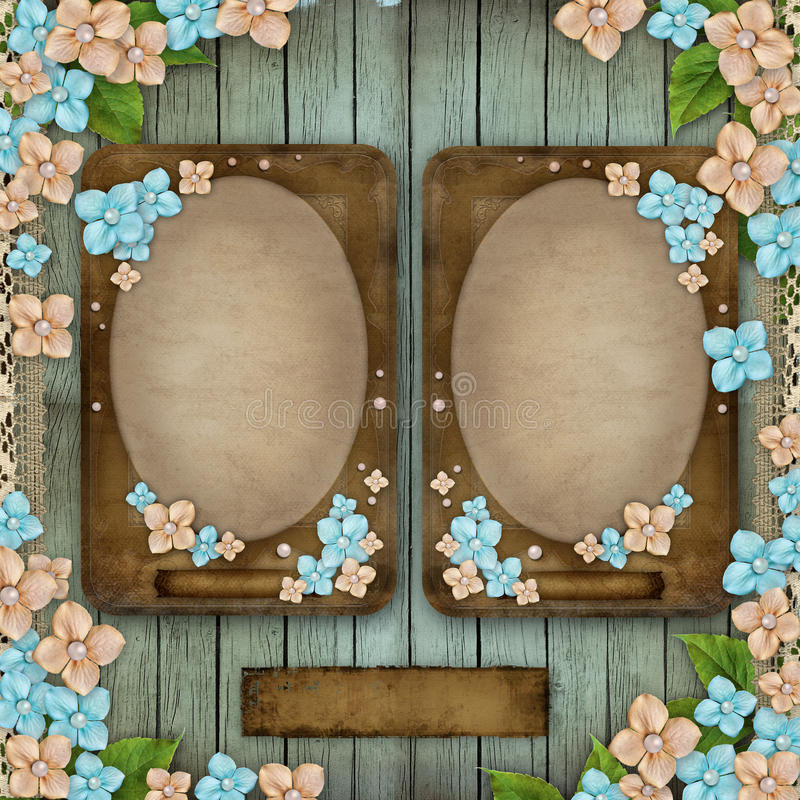 Blue wooden background with 2 vintage frames. Flowers, pearls and lace vector illustration