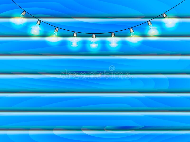 Blue wooden board with light bulbs garland. Vector stock illustration for poster stock images
