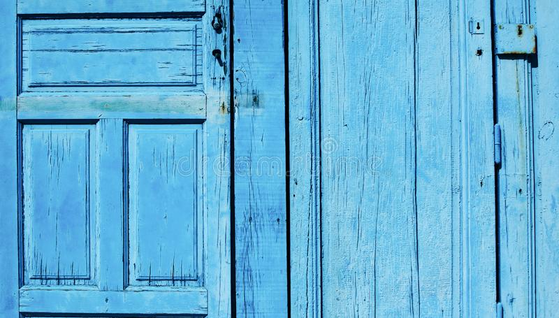 Blue wooden door background royalty free stock photography