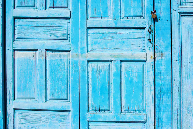 Blue wooden doors background, horizontal stock image