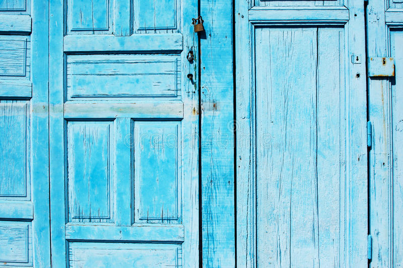 Blue wooden doors background, horizontal royalty free stock photography