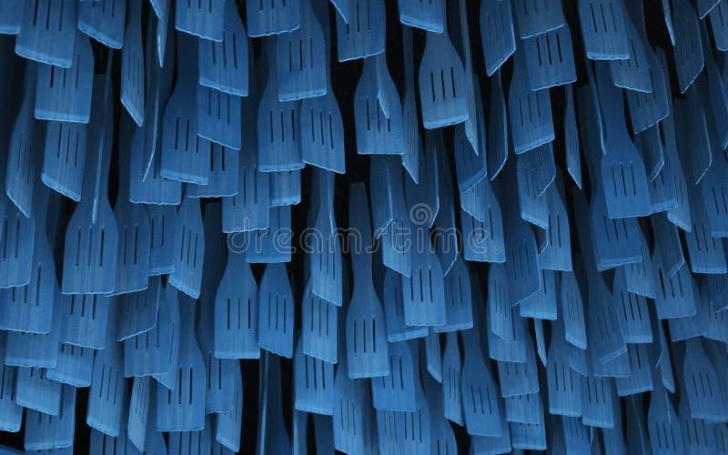 Blue Wooden spoons hangen aan de afdichting Cooking spoons patroon stock foto's