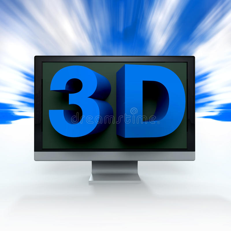 Blue word 3D comes on a black flat screen monitor. To illustrate the three dimensions stock illustration