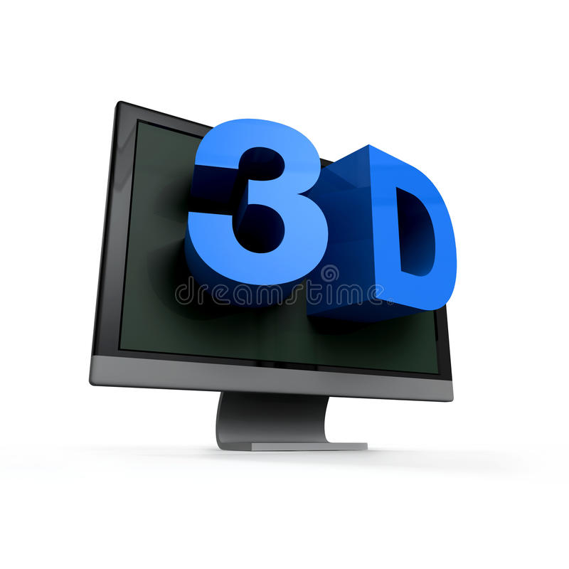 Blue word 3D comes out of a black flat screen monitor. Glossy blue word 3D comes out of a black flat screen monitor to illustrate the three dimensions royalty free illustration