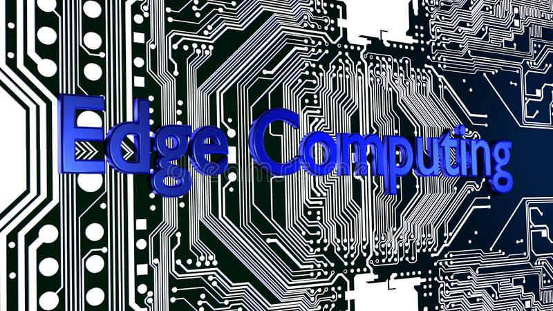 Blue word Edge computing on top of glowing circuit board 3D vector illustration