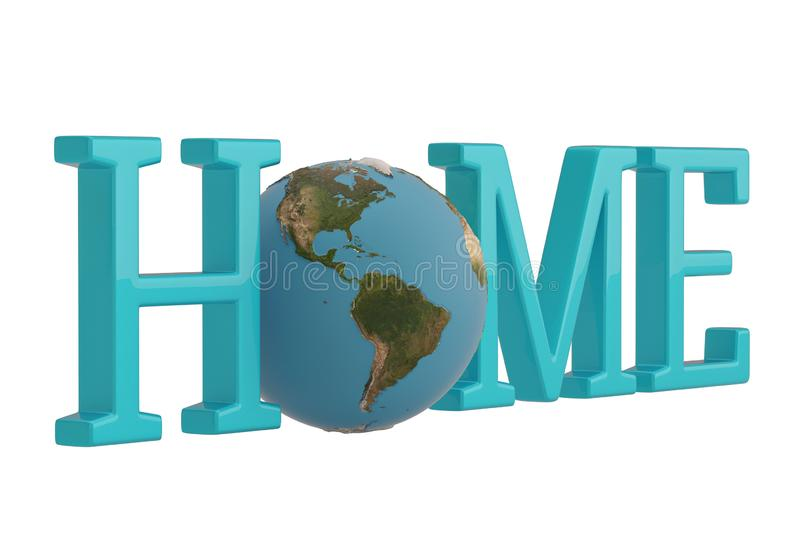 Blue word home with 3d globe on white background. 3D illustration.  vector illustration