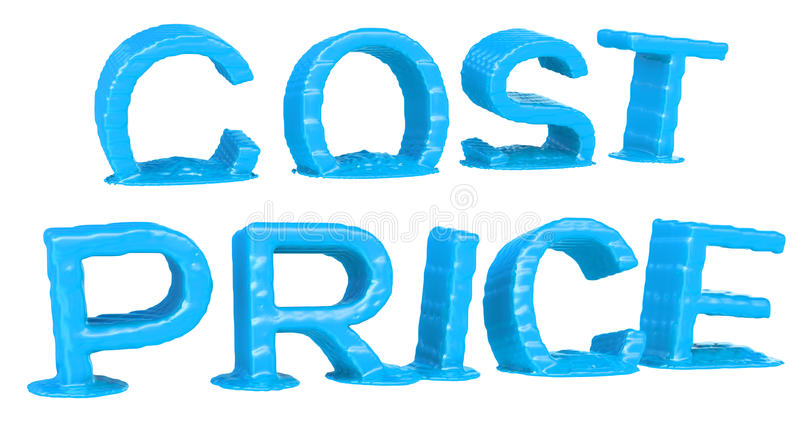 Blue of the word PRICE and COST melting. Isolated on white background royalty free illustration