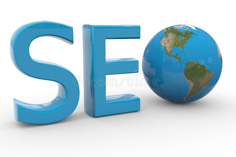 Blue word SEO with 3D globe replacing letter O. Computer generated image stock illustration