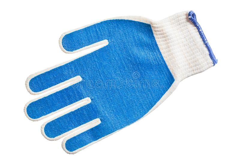Blue working gloves isolated on white.  stock photo