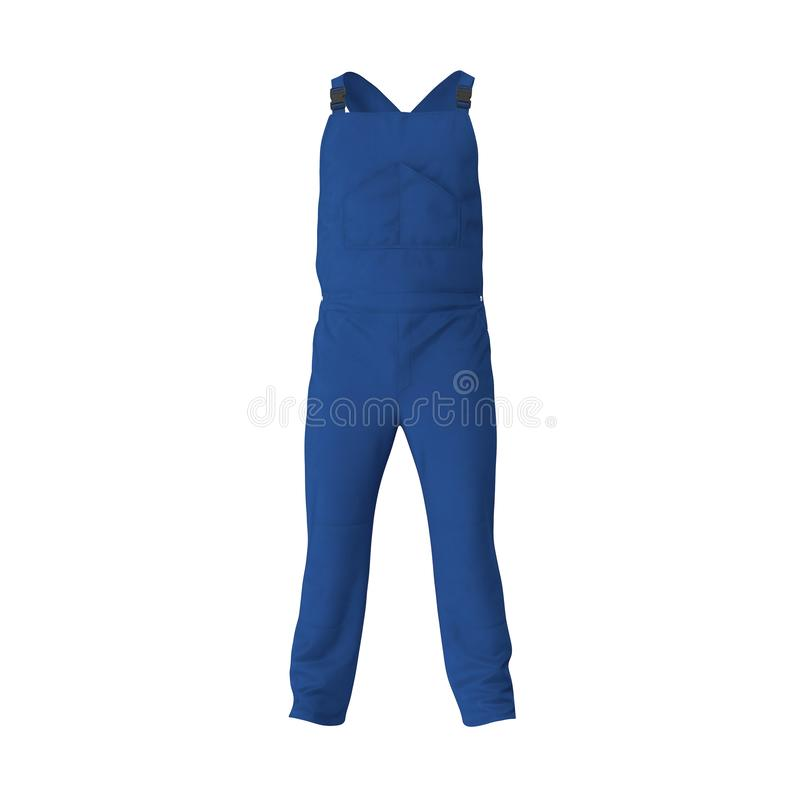 Blue Workwear Overalls On White Background. 3D Illusration, isolated. Blue Workwear Overalls On White Background. 3D Illusration stock photography