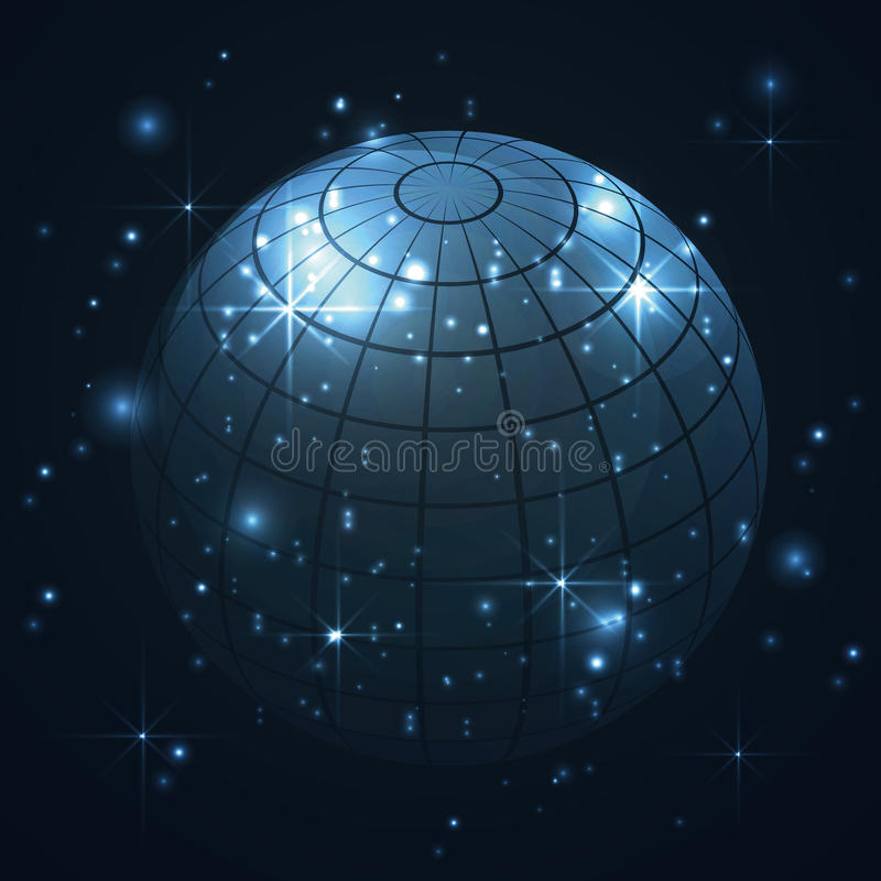 Blue world globe in universe, galaxy with stars in blue background, abstract stock illustration