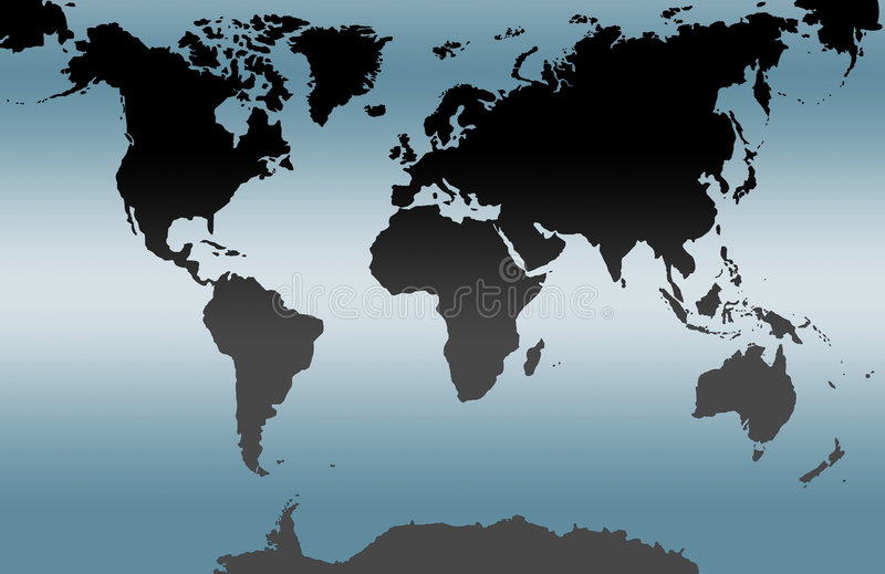 Blue world map. Complete world map on blue background color