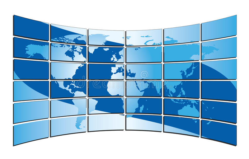 Blue world map on the blue screens - vector. Vector blue world map on the blue screens vector illustration