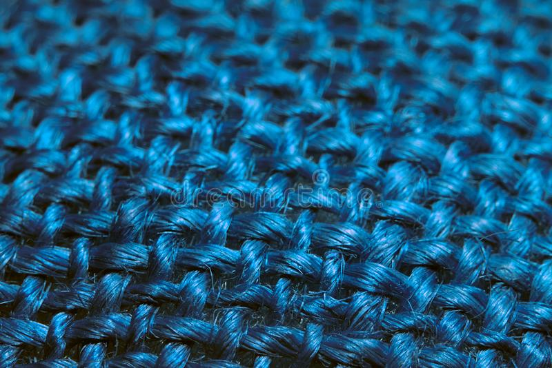 Blue woven fabric texture stock photo