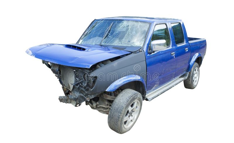 Blue wrecked car after accident stock images