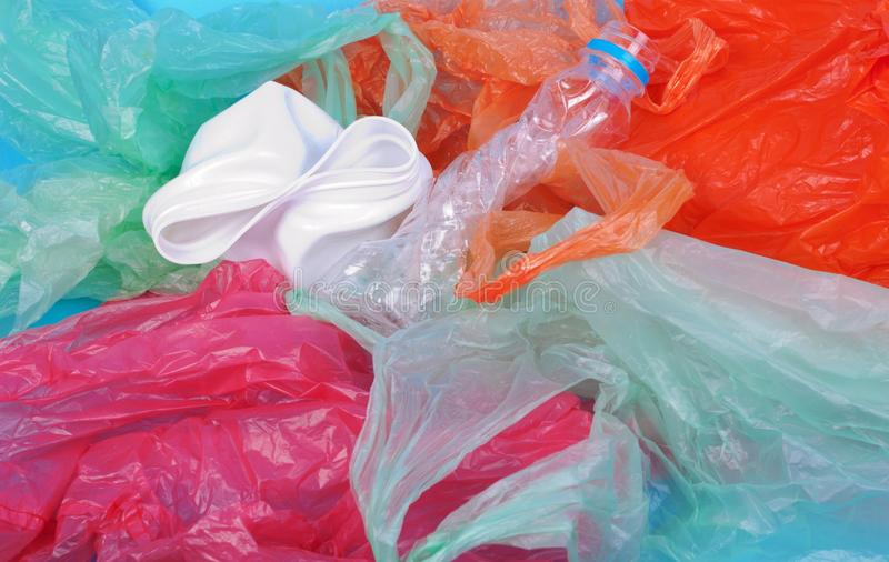 Download Blue wrinkled plastic bag stock photo. Image of object - 28269302