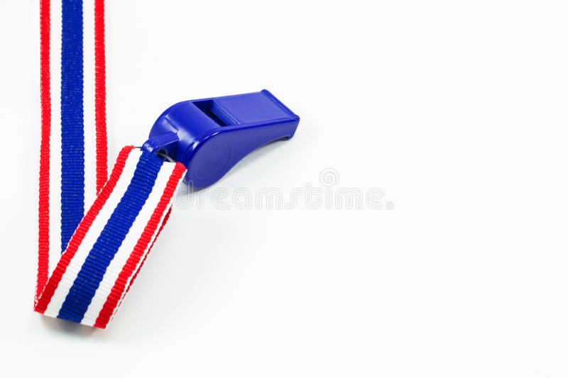 Blue wristle with red, blue and white ribbon isolated on white b stock photography