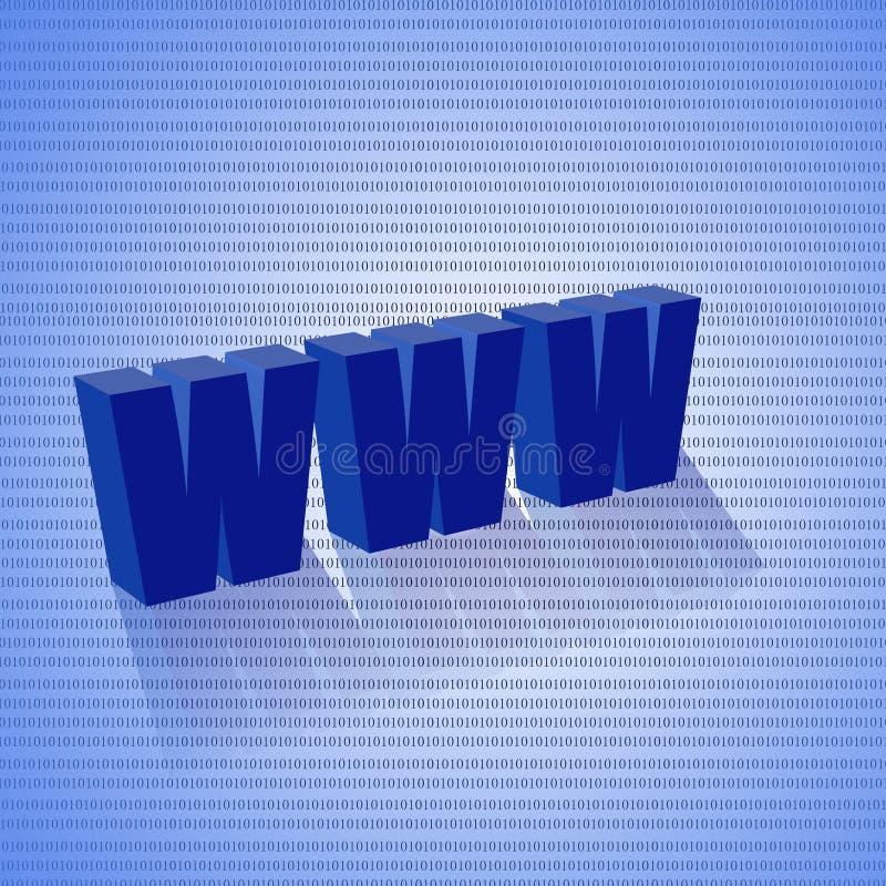 Blue www. 3d www, www blue symbol internet web business isolated vector illustration
