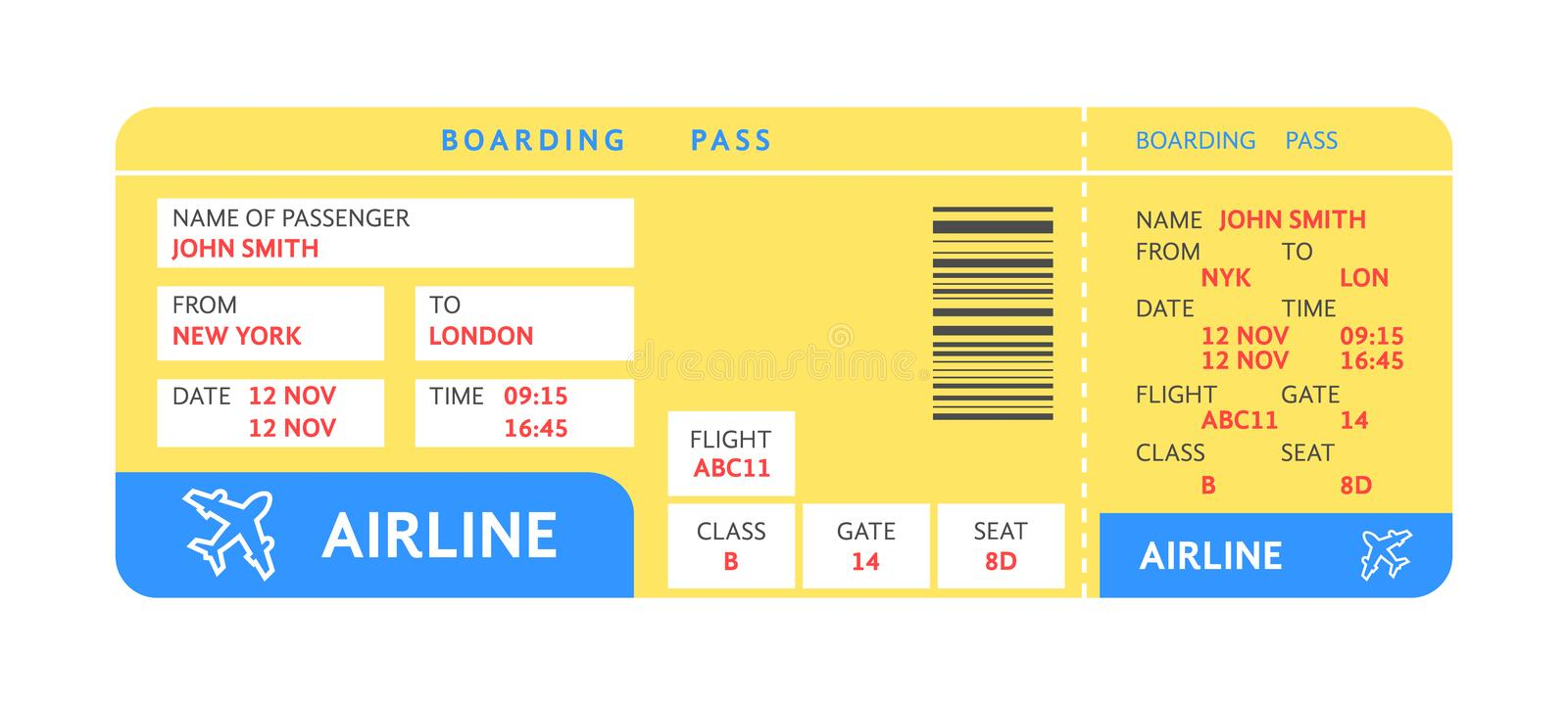 Blue yellow air ticket by plane with text stock illustration
