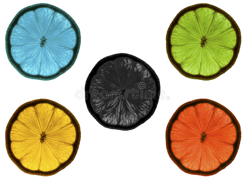Blue yellow black green red lemons white background royalty free stock photography