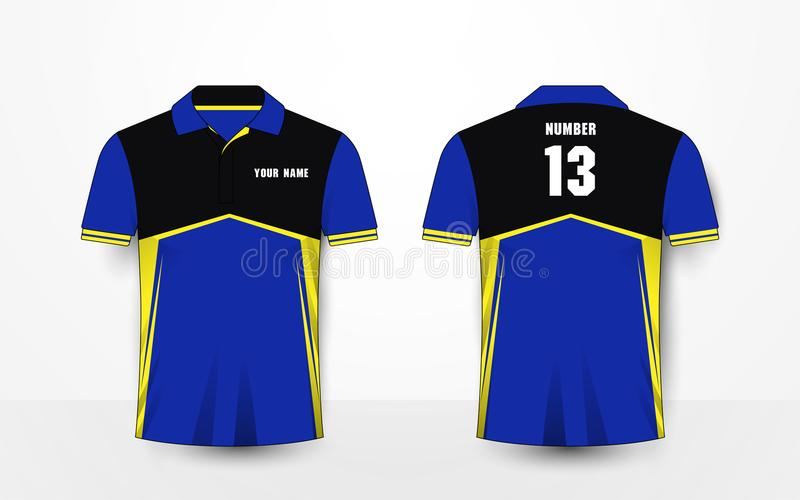 Blue, yellow and black sport football kits, jersey, t-shirt design template royalty free illustration